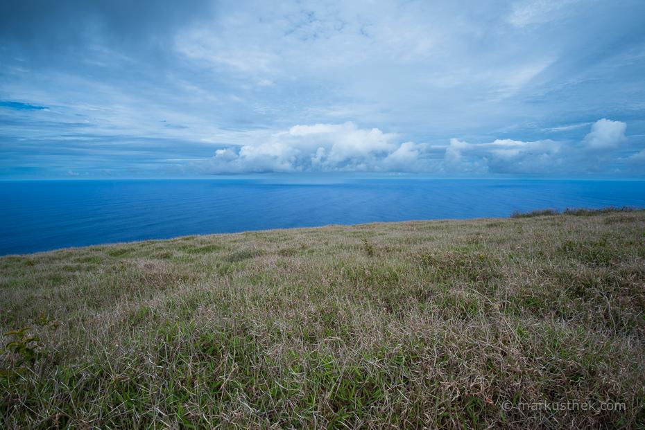 """Die Aussicht vom Vulkan """"Ranu Kau"""" auf der Osterinsel"""
