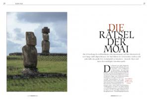 Eine Fotostrecke im österreichischen Universum-Magazin. Es ist ein wissenschaftlicher Text über das Leben der Rapa Nui auf der fernen Osterinsel im Pazifk. Landschaftsfotograf Markus Thek zeigt hier atemberaubende Landschaftsaufnahmen mit den monumentalen, für die Osterinsel typischen Steinskulpturen, den Moai.